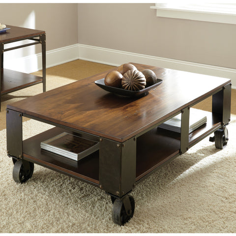 Steve Silver Barrett Cocktail Table w/ Casters in Distressed Tobacco