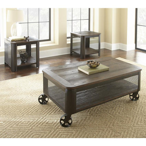 Steve Silver Barrow 3 Piece Coffee Table Set in Mocha