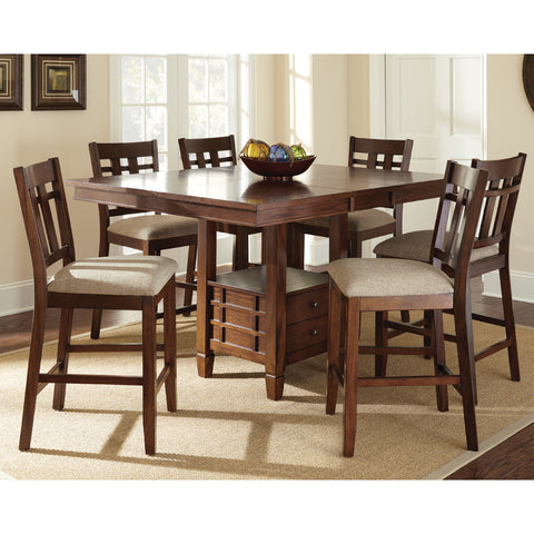 Steve Silver Bolton 7 Piece Counter Table Set w/ Storage Base in Dark Oak