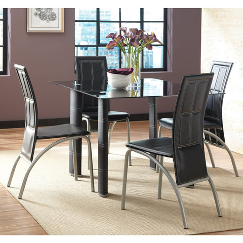 Steve Silver Calvin 5 Piece Glass Top Dining Room Set