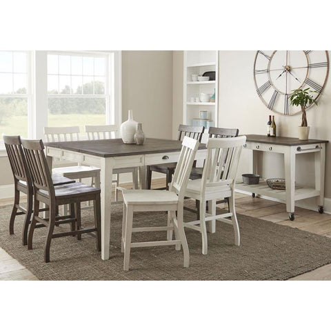 Steve Silver Cayla 10 Piece Counter Table Set in Dark Oak & White