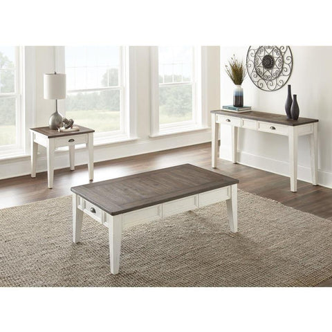 Steve Silver Cayla 3 Piece Coffee Table Set in Dark Oak & White