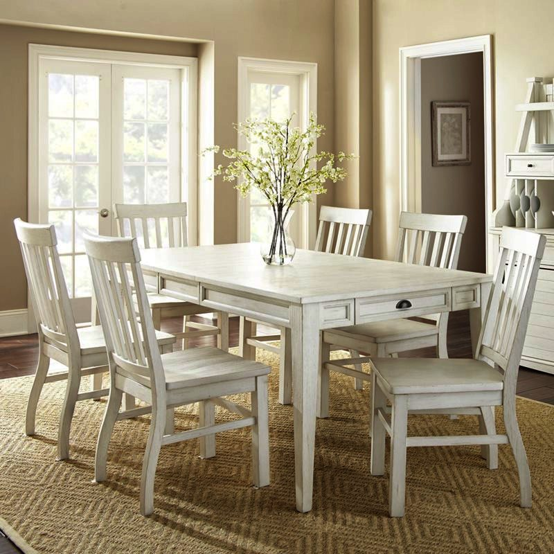 Steve Silver Cayla 7 Piece Dining Room Set w/Antique White Chairs