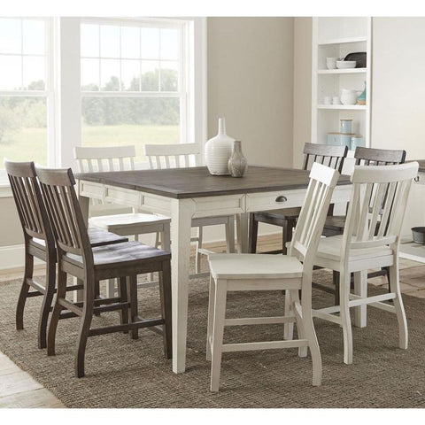 Steve Silver Cayla 9 Piece Counter Table Set in Dark Oak & White