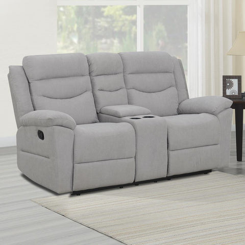 Steve Silver Chenango Manual Motion Loveseat with Console - Light Grey