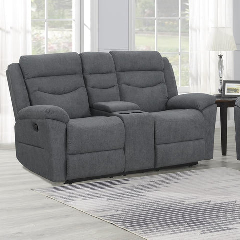 Steve Silver Chenango Manual Motion Loveseat with Console Dark Grey