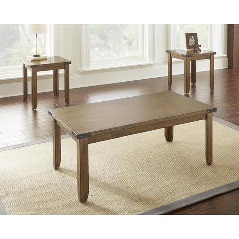 Steve Silver Chester 3 Piece Rectangular Coffee Table Set in Light Antiqued Oak