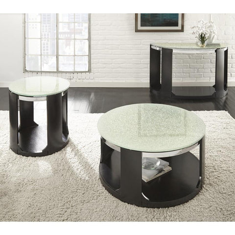 Steve Silver Croften 3 Piece Cracked Glass Coffee Table Set in Merlot