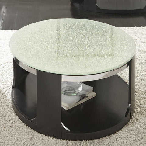 Steve Silver Croften Cracked Glass Cocktail Table w/Casters in Merlot