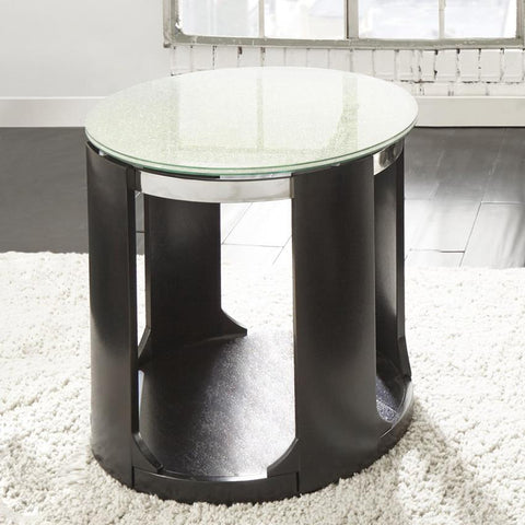 Steve Silver Croften Cracked Glass Round End Table in Merlot