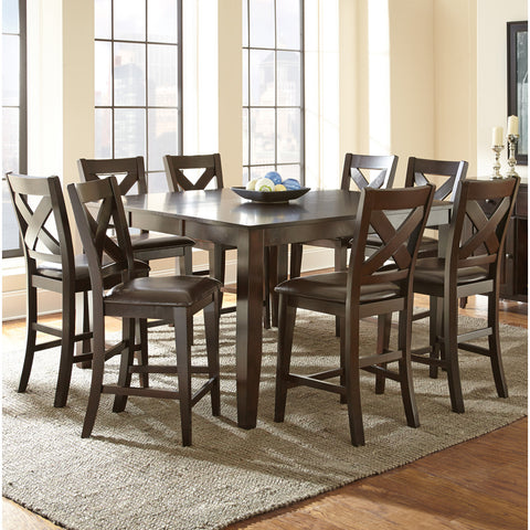 Steve Silver Crosspointe 9 Piece Counter Height Table Set in Dark Espresso Cherry