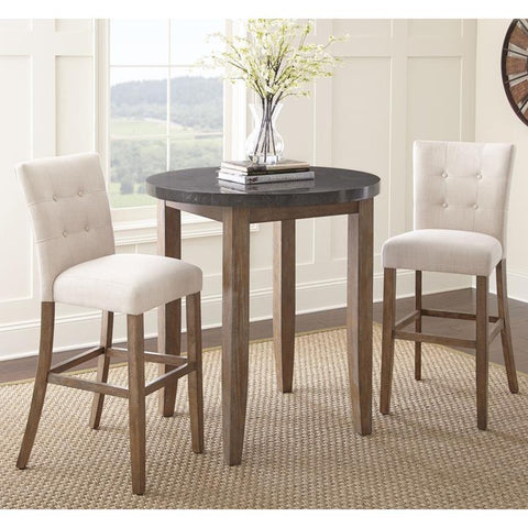Steve Silver Debby 3 Piece 40 Inch Bar Table Set w/Beige Chairs