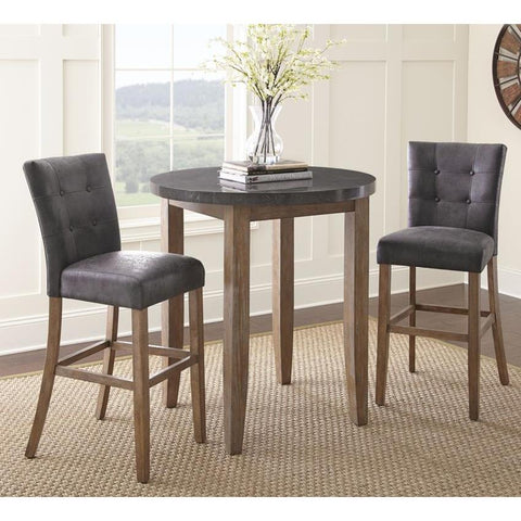 Steve Silver Debby 3 Piece 40 Inch Bar Table Set w/Grey Chairs