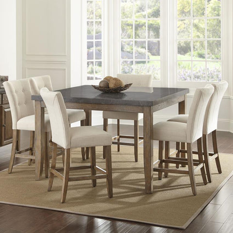 Steve Silver Debby 7 Piece 54 Inch Counter Height Set w/Beige Chairs