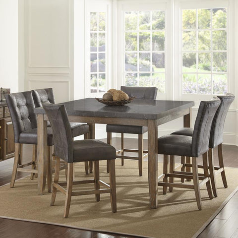 Steve Silver Debby 7 Piece 54 Inch Counter Height Set w/Grey Chairs