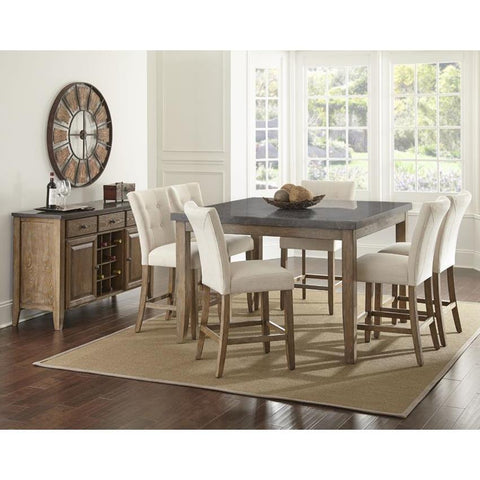 Steve Silver Debby 8 Piece 54 Inch Counter Height Set w/Beige Chairs