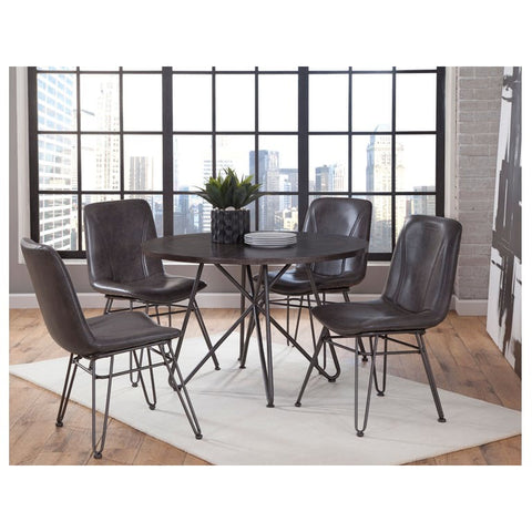 Steve Silver Derek 5 Piece Round Dining Room Set in Gray & Black