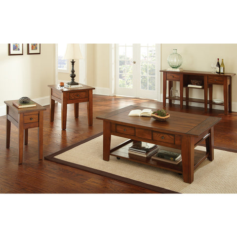 Steve Silver Desoto 4 Piece Coffee Table Set w/ Casters in Dark Oak