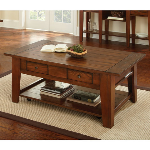 Steve Silver Desoto Cocktail Table w/ Casters in Dark Oak
