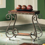 Steve Silver Ellery Chairside End Table w/ Wood Top & Metal Legs