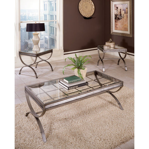 Steve Silver Emerson 3 Piece Occasional Table Set in Silver / Gray
