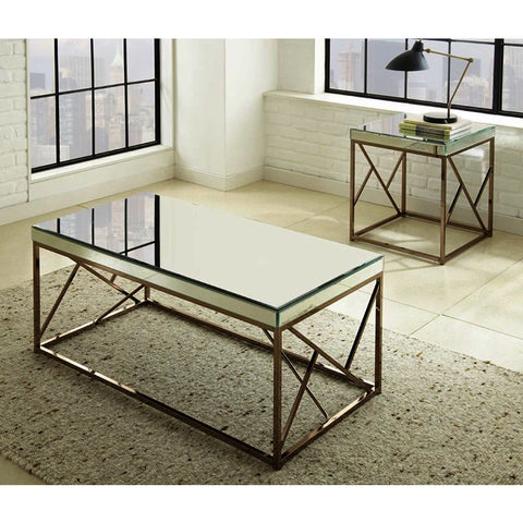 Steve Silver Evelyn 2 Piece Coffee Table Set in Copper Chrome