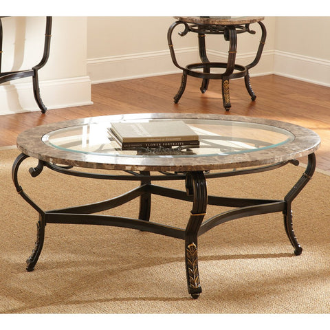 Steve Silver Gallinari Marble Top Cocktail Table w/ Glass Insert