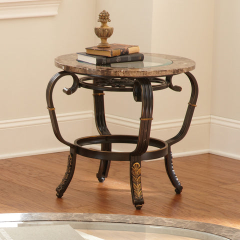 Steve Silver Gallinari Marble Top End Table w/ Glass Insert