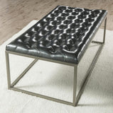 Steve Silver Glenda Upholstered Cocktail Table in Metallic Charcoal Gray