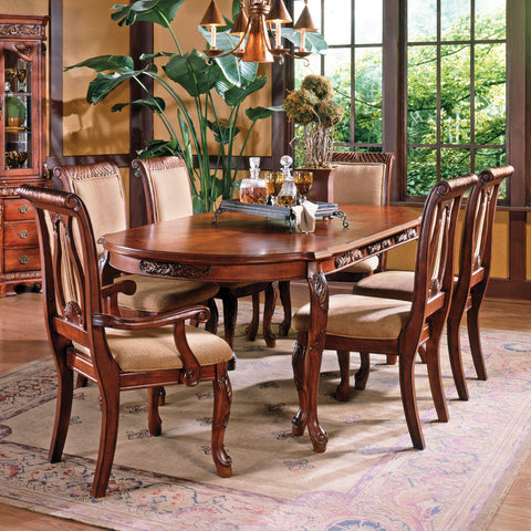 Steve Silver Harmony 7 Piece Oval Dining Room Set in Cherry