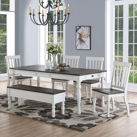 Steve Silver Joanna 6 Piece Dining Room Set in Ivory & Charcoal
