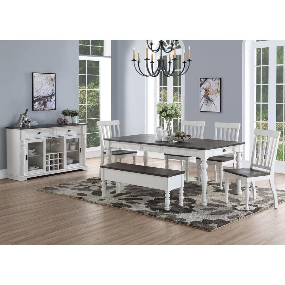 Steve Silver Joanna 7 Piece Dining Room Set In Ivory Charcoal