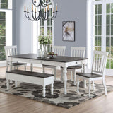 Steve Silver Joanna 7 Piece Dining Room Set in Ivory & Charcoal