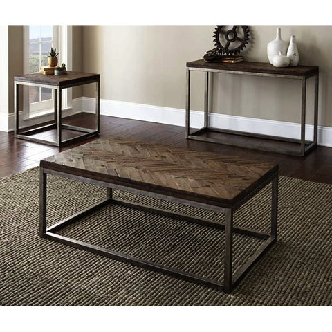 Steve Silver Lorenza 3 Piece Coffee Table Set in Vintage Nickel