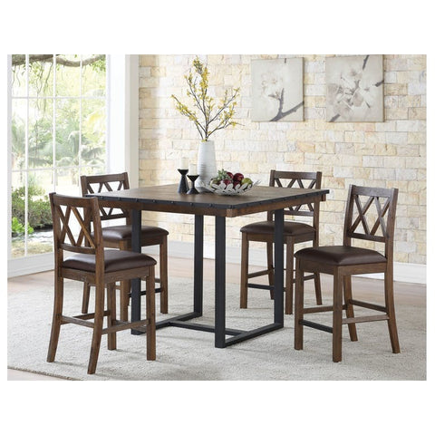 Steve Silver Lori 5 Piece Counter Table Set in Wire Brushed Chestnut