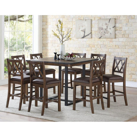 Steve Silver Lori 9 Piece Counter Table Set in Wire Brushed Chestnut