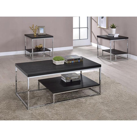 Steve Silver Lucia 3 Piece Coffee Table Set in Cappuccino & Chrome