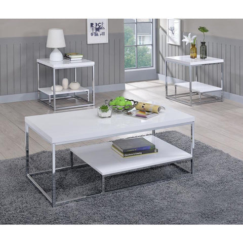 Steve Silver Lucia 3 Piece Coffee Table Set in White & Chrome