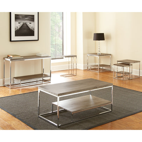 Steve Silver Lucia 5 Piece Coffee Table Set in Grey & Brown