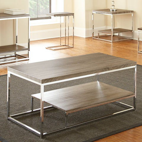 Steve Silver Lucia Cocktail Table in Grey & Brown