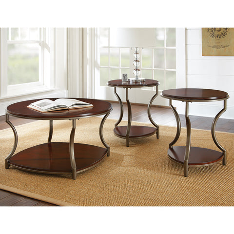 Steve Silver Maryland 3 Piece Coffee Table Set in Medium Cherry
