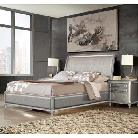 Steve Silver Midtown 3 Piece Sleigh Bedroom Set in Platinum