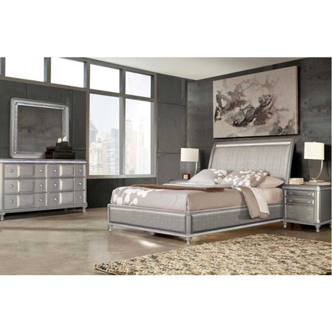 Steve Silver Midtown 4 Piece Sleigh Bedroom Set in Platinum