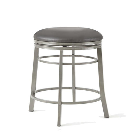 Steve Silver Milo Backless Swivel Counter Stool in Commercial Grade Metal w/Faux Leather Seat