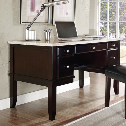 Steve Silver Monarch White Marble Top Writing Desk