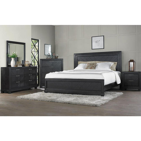 Steve Silver Montana 4 Piece Platform Bedroom Set in Dark Oak