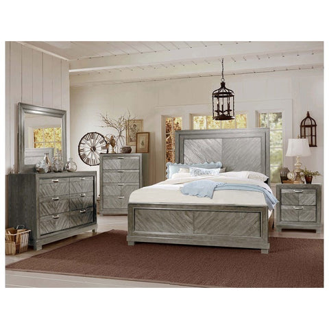 Steve Silver Montana 4 Piece Platform Bedroom Set in Gray