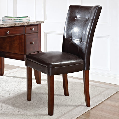 Steve Silver Montibello Parsons Chair w/ Dark Brown Vinyl Upholstery