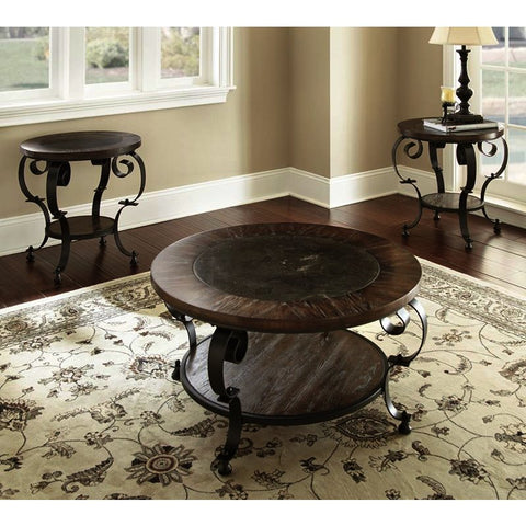 Steve Silver Mulberry 3 Piece Round Coffee Table Set in Dark Brown