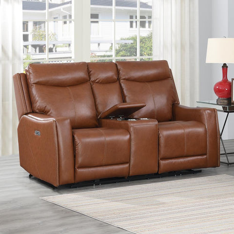 Steve Silver Natalia Power Loveseat Console Recliner - Caramel Leather
